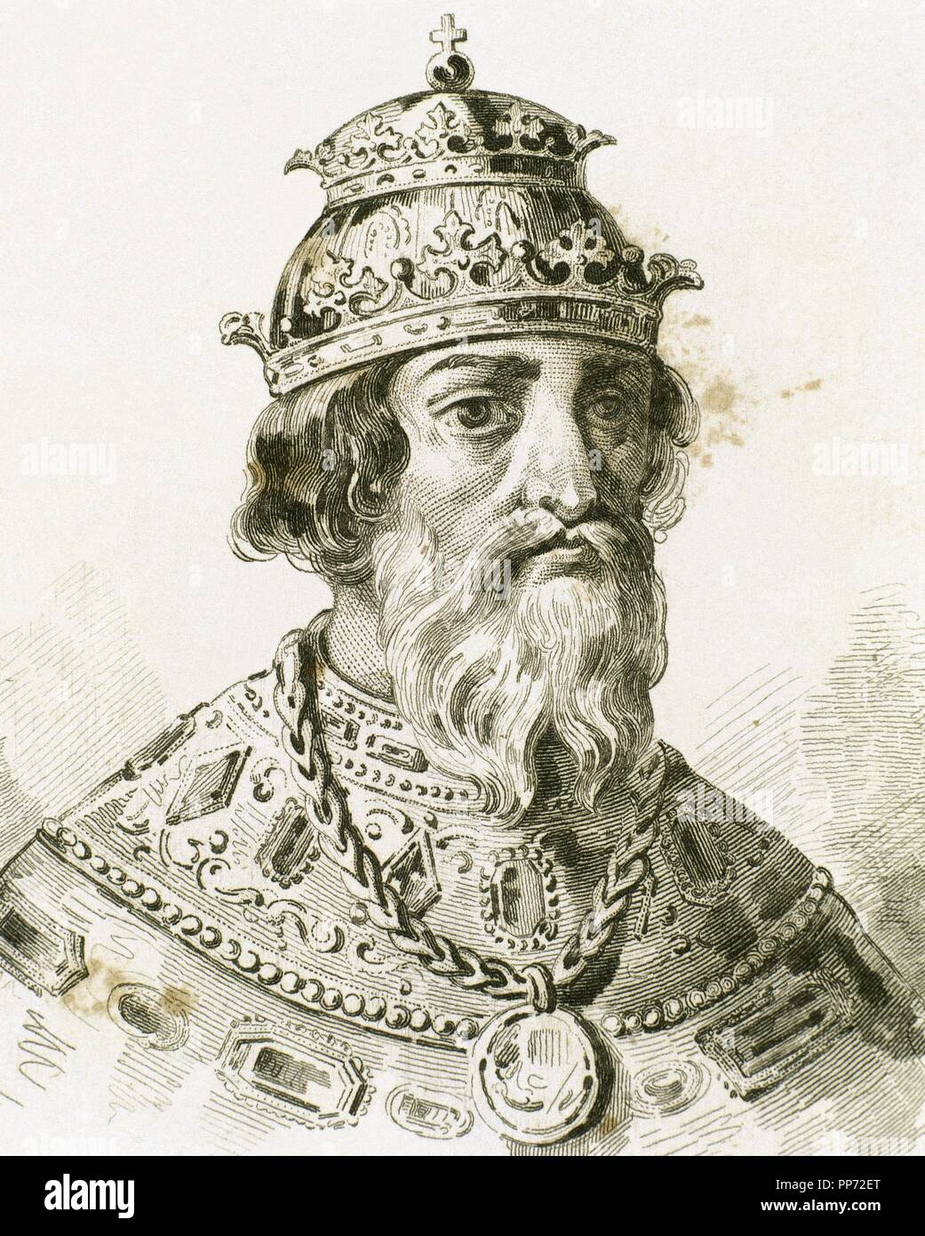 Ivan IV Vasilyevich (1530-1584), known as Ivan the Terrible. Grand Prince of Moscow (1533-1547) and Tsar of All the Russias (1547-1584). Portrait. Engraving. Stock Photo