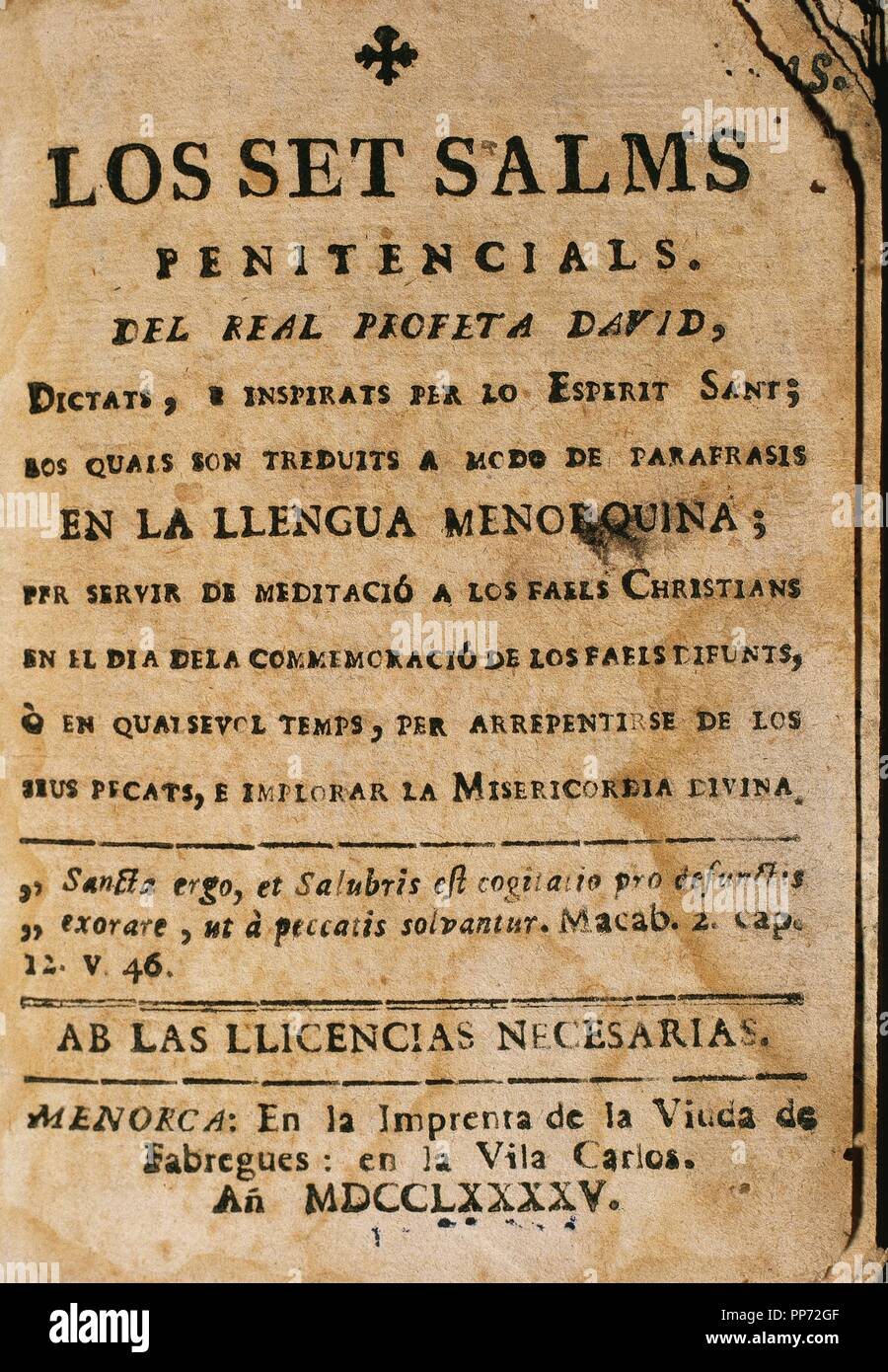 The seven Penitential Psalsms of David prophet. 1795. Ciutadella. Menorca. Balearic Islands. Spain. Stock Photo