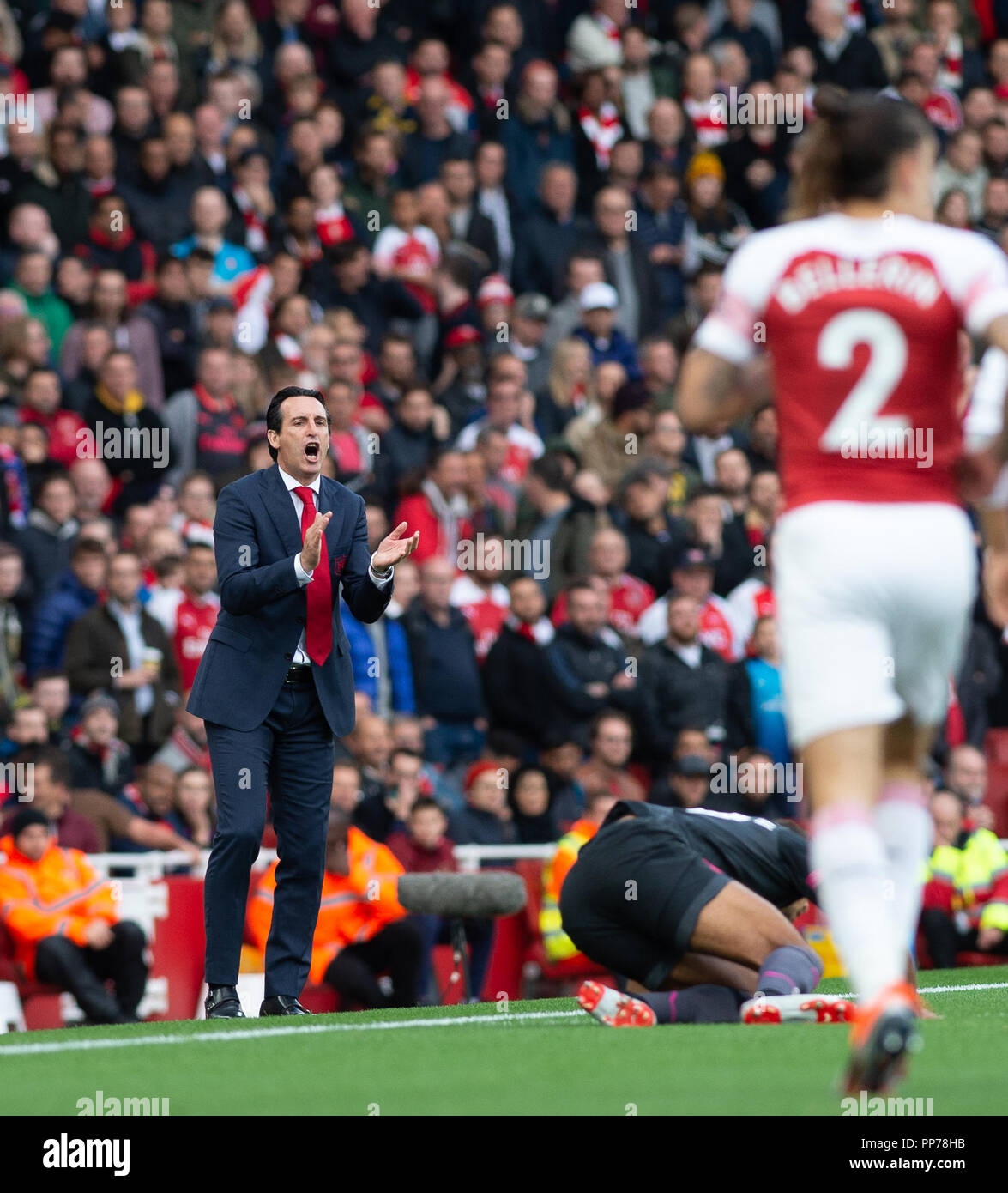 London, UK. 23rd Sep, 2018. Arsenal's Manager Unai Emery gestures during the English Premier League match between Arsenal and Everton at the Emirates Stadium in London, Britain on Sept. 23, 2018. Arsenal won 2-0. Credit: Marek Dorcik/Xinhua/Alamy Live News Stock Photo