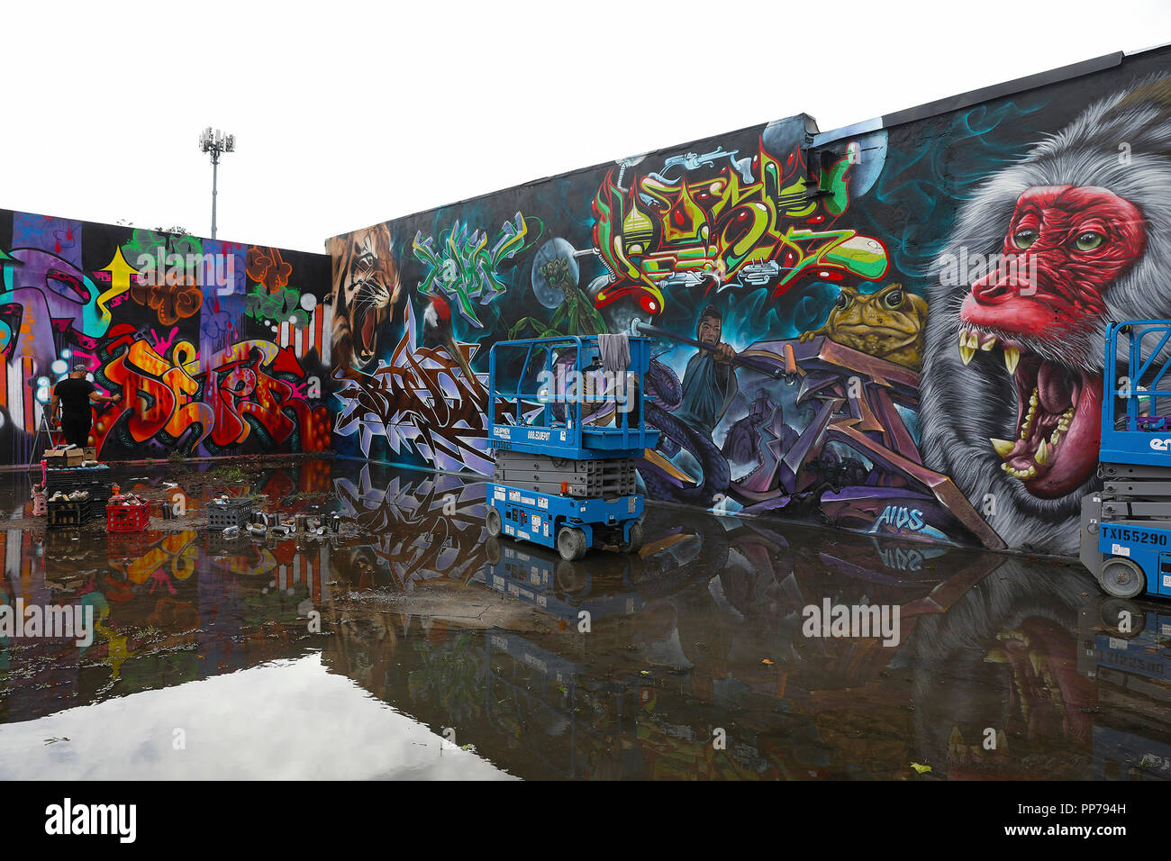 Houston 23rd sep 2018 photo taken on sept 23 2018 shows the murals and graffiti on the walls in greater northside houston area the united states