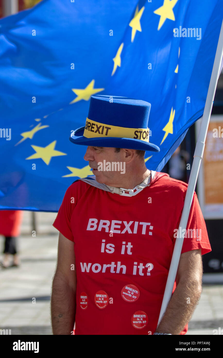 Liverpool, Merseyside, UK. 23rd Sept 2018. Labour Party Conference. Stop Brexit campaingers,supporters, delegates, people at the echo arena, as the city stages its annual political event. Credit; MediaWorldImages/AlamyLiveNews. Stock Photo