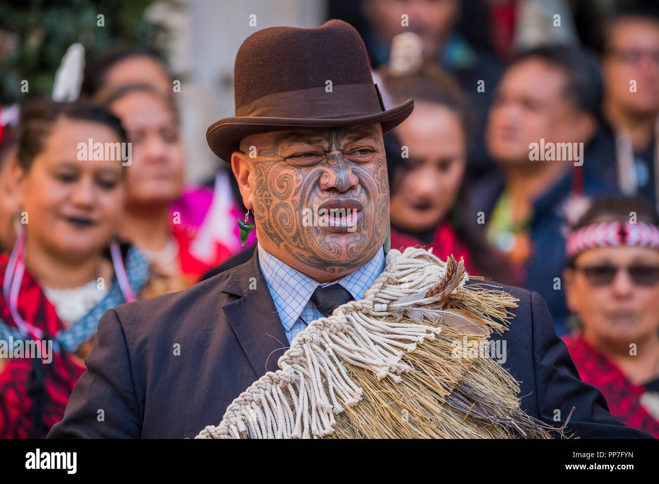 London, UK. 24th September, 2018. The final Blessing - A ceremonial procession and blessing ceremony for the Royal Academy's forthcoming Oceania exhibition. The procession started from Green Park and moved down Piccadilly to the RA Courtyard where they were formally welcomed by members of Ngāti Rānana, the London Māori Club. Countries and territories involved in the ceremony included New Zealand, Fiji, the Kingdom of Tonga, Papua New Guinea and Tahiti. Credit: Guy Bell/Alamy Live News - Stock Image