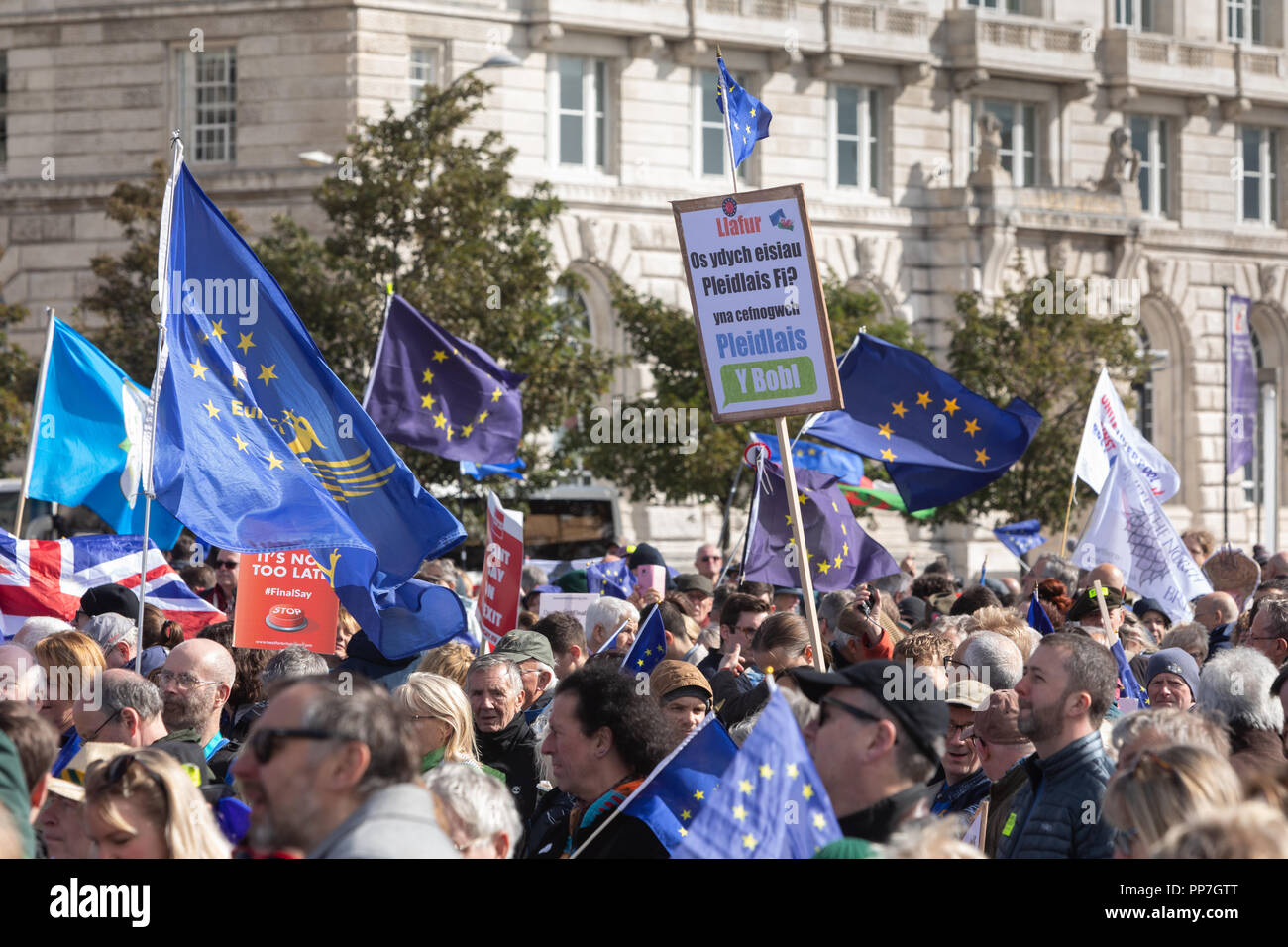 Liverpool, UK. Sunday 23rd September 2018. The People's Vote march. © Phil Portus / Alamy Live News - Stock Image