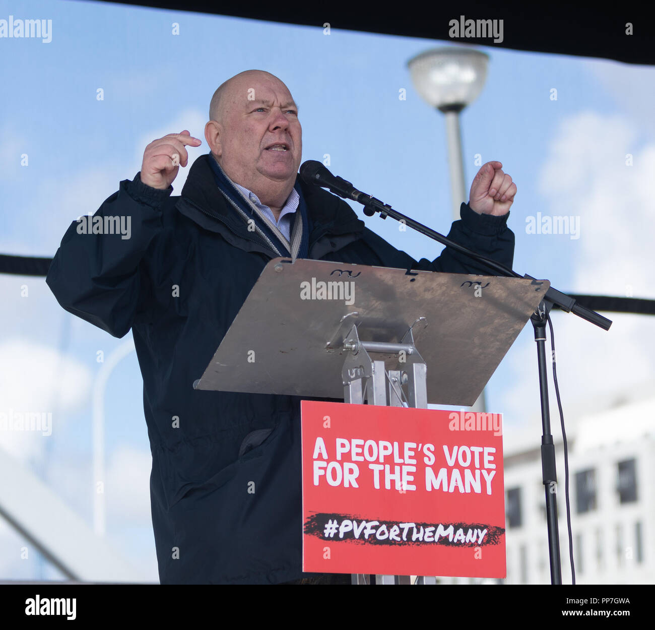 Liverpool, UK. Sunday 23rd September 2018.Joe Anderson, Mayor of Liverpool talks at the Pier Head at rally after the march. © Phil Portus / Alamy Live News - Stock Image