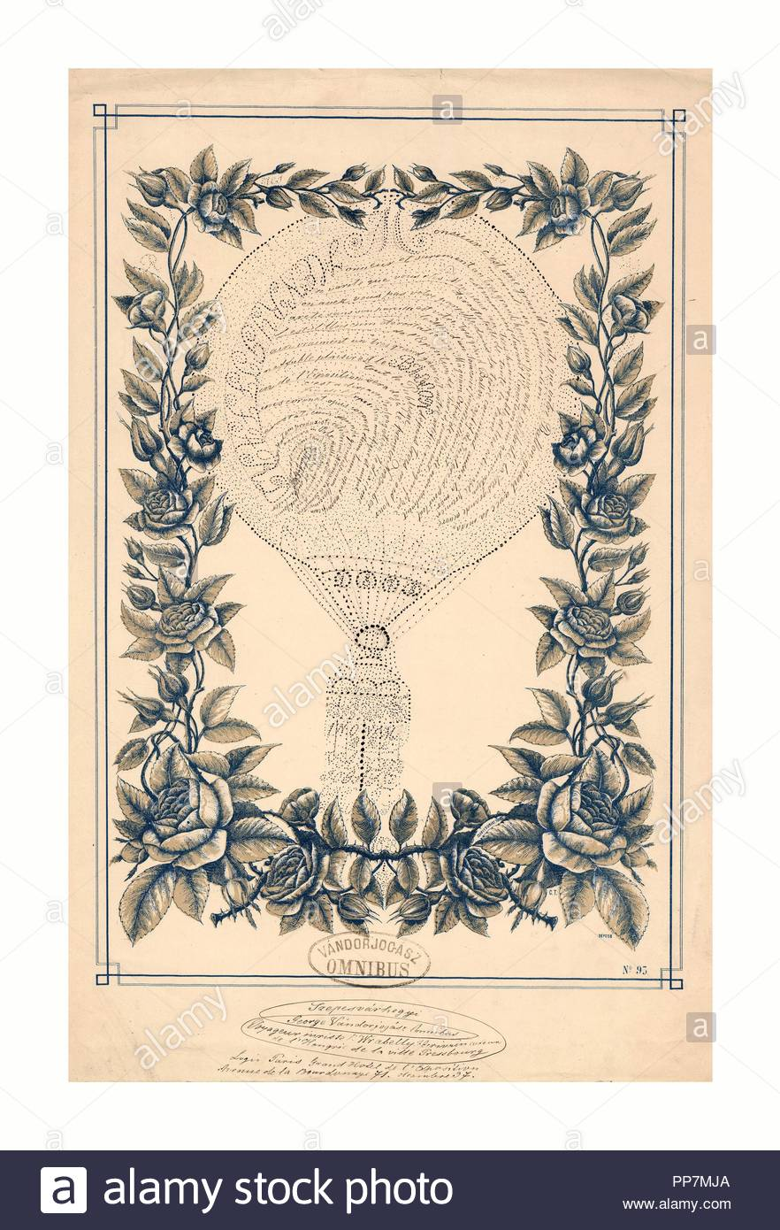 Tribute to French ballonist Henri Giffard in the form of a handwritten French text shaped as a balloon, inside a printed floral border, Clarey & Gibert, Tours., 1878 , Tribute written by Mr. Wrabelly of Hungary, town of Pressbourg (Bratislava), on the occasion of seeing the giant Giffard balloon exhibited in the Tuileries gardens during his visit to the World Exposition held in Paris in 1878. - Stock Image