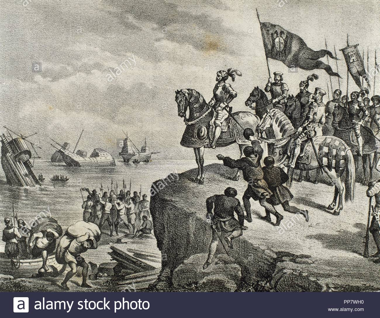 "Conquest of Mexico, 1519. Hernan Cortes (1488-1547), Spanish conqueror of  Mexico, defeats the Indians who oppose his landing. Engraving in ""Historia  de ..."