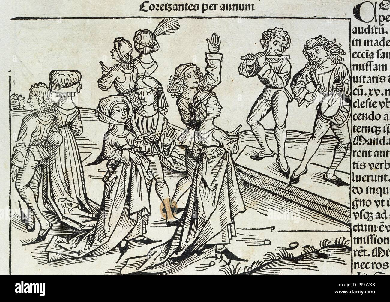 Germany. Magdeburg. 16th century. Party. Musicians playing and people dancing. Engraving in 'Liber Chronicorum', by Hartman Schedel. - Stock Image