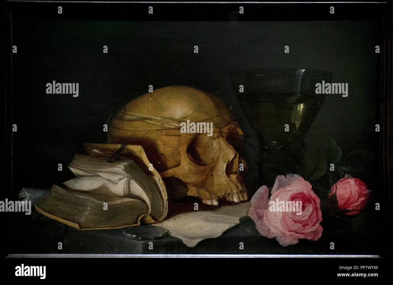 Jan Davidsz. de Heem (1606-1683/1684). Flemish painter. A Vanitas Still Life with a Skull, a Book and Roses, c. 1630. National Museum. Stockholm. Sweden. Stock Photo