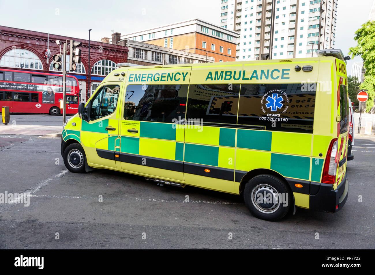 London England United Kingdom Great Britain South Bank Lambeth emergency vehicle transport ambulance National Health Service NHS British Emergency Amb - Stock Image