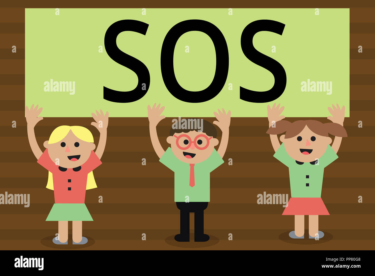 Handwriting text writing Sos. Concept meaning Urgent appeal for help International code signal of extreme distress. - Stock Image