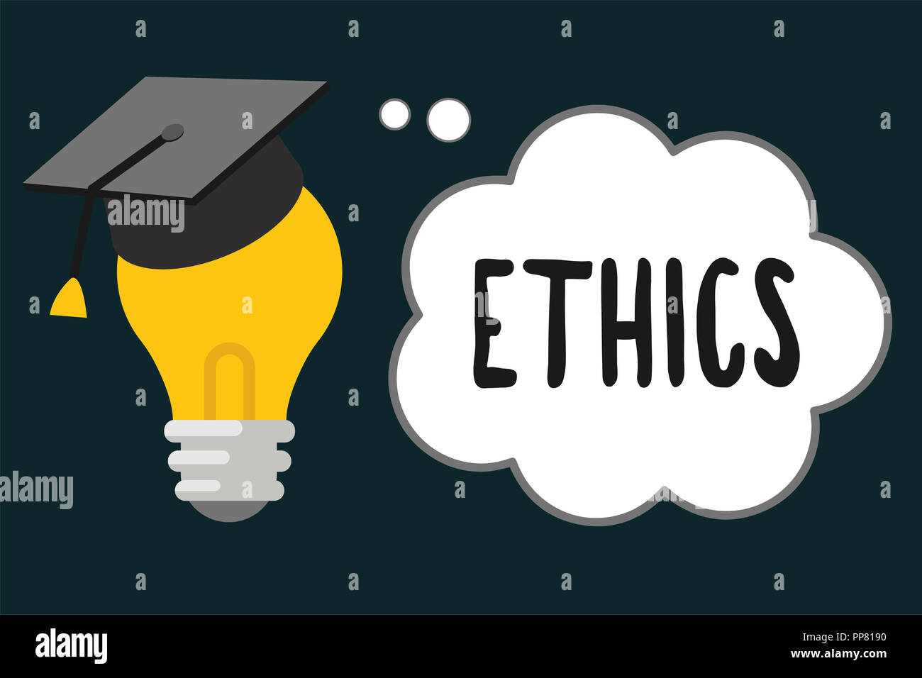 Handwriting text Ethics. Concept meaning moral principles that govern person behaviour or conducting activity. - Stock Image