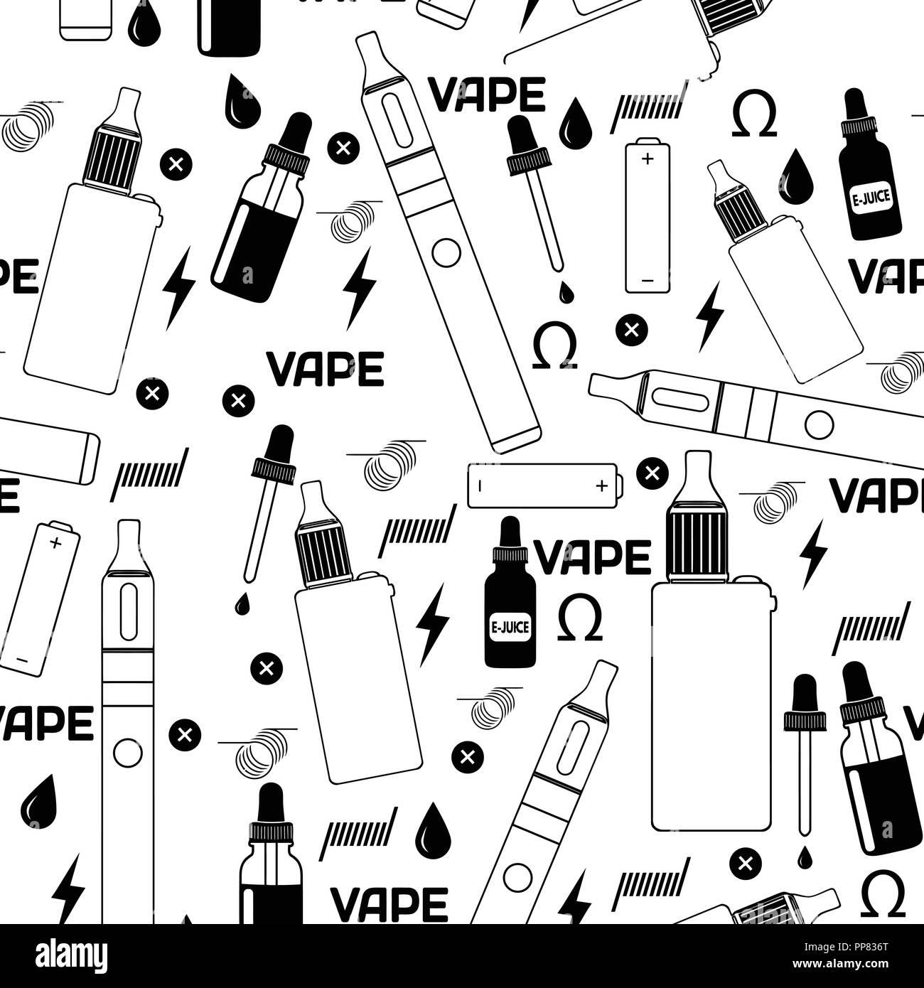 Vape shop or e-cigarette store seamless pattern on white background, vector illustration - Stock Image