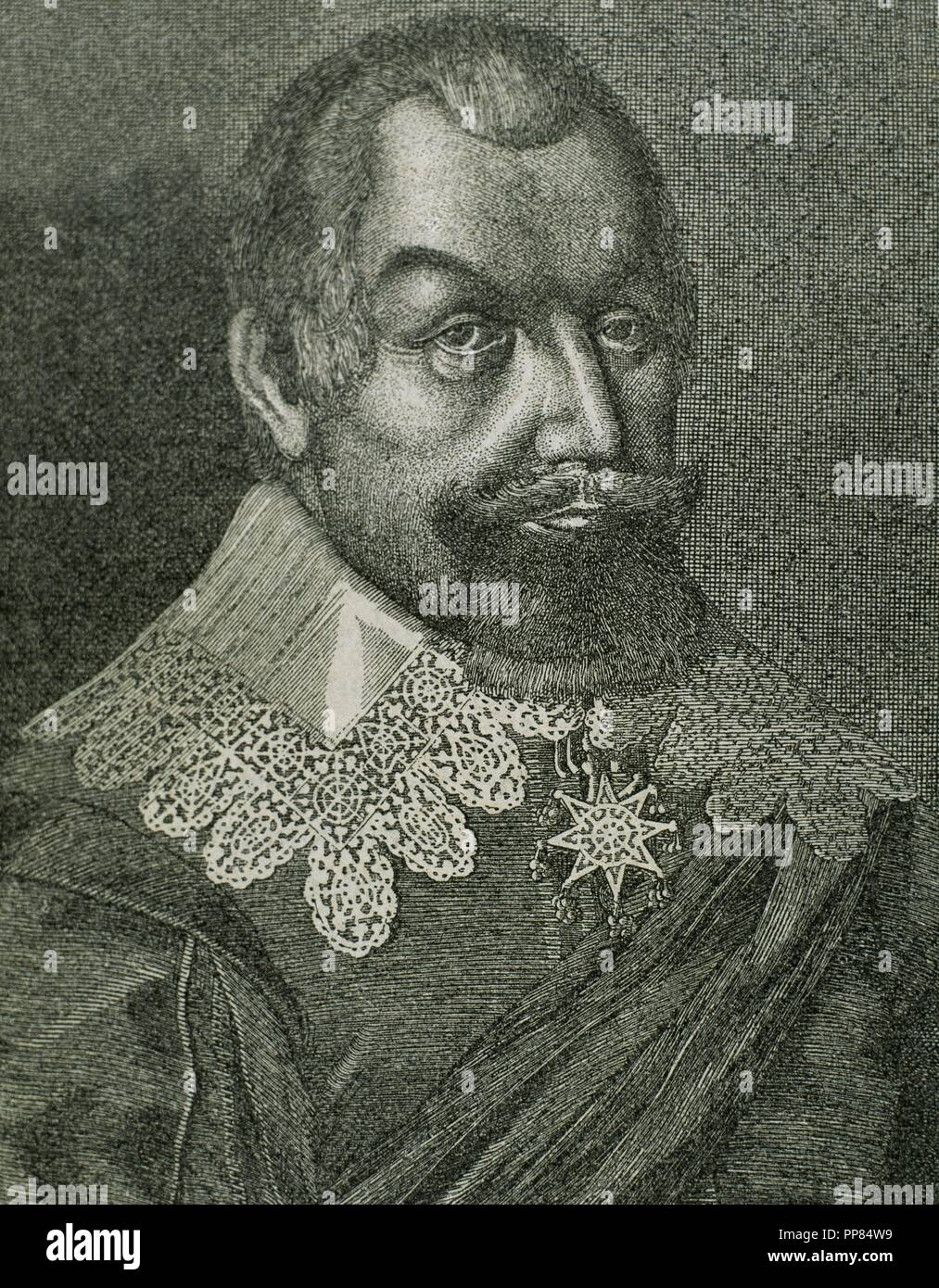 Axel Oxenstierna (1583-1654), Count of Sodermore. Swedish statesman. Portrait. Engraving by E. Hondius. - Stock Image