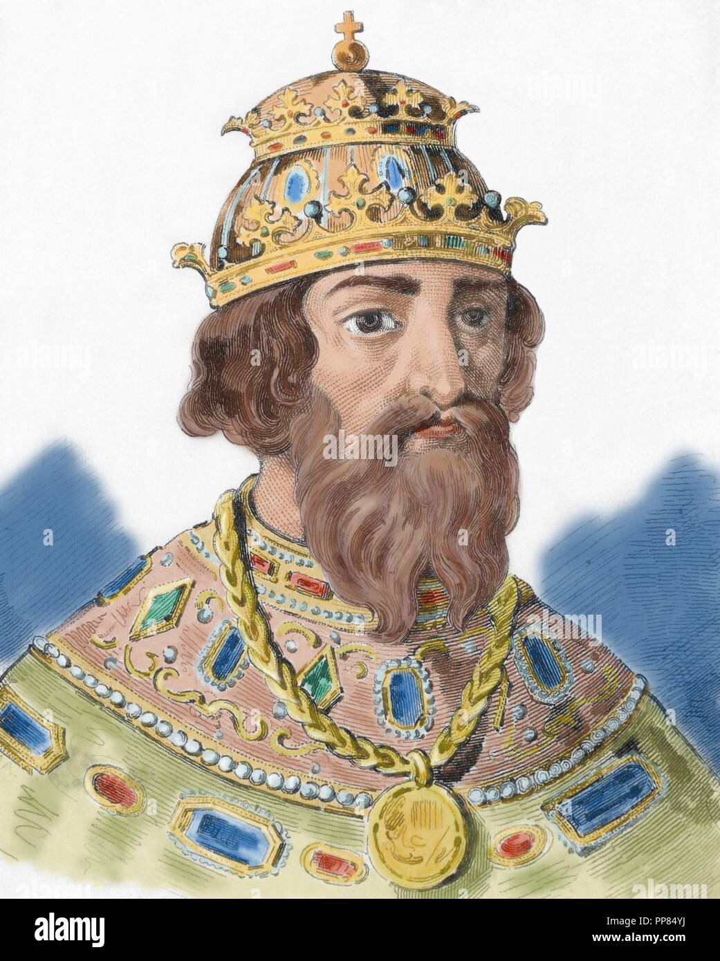 Ivan IV Vasilyevich (1530-1584), known as Ivan the Terrible. Grand Prince of Moscow (1533-1547) and Tsar of All the Russias (1547-1584). Portrait. Engraving. Colored. - Stock Image