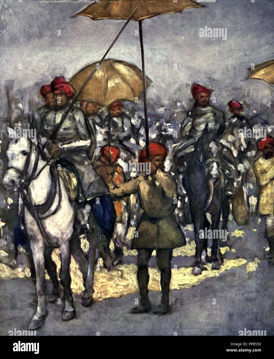 The Shan Chiefs retainers at the Native Review - Major Dunlop Smith made them open their umbrellas at the last moment, adding interest and brilliancy to the group, India, circa 1900 - Stock Image