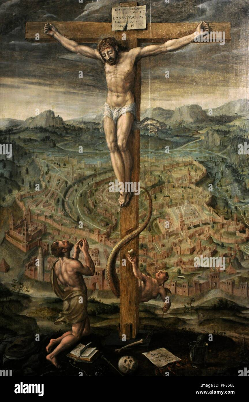 Hans Vredenab de Vries (1527-1606). Dutch Renaissance painter. The Allegory of Salvation and sin. Gdansk, 1596. Oil on Panel. National Museum. Gdansk. Poland. - Stock Image