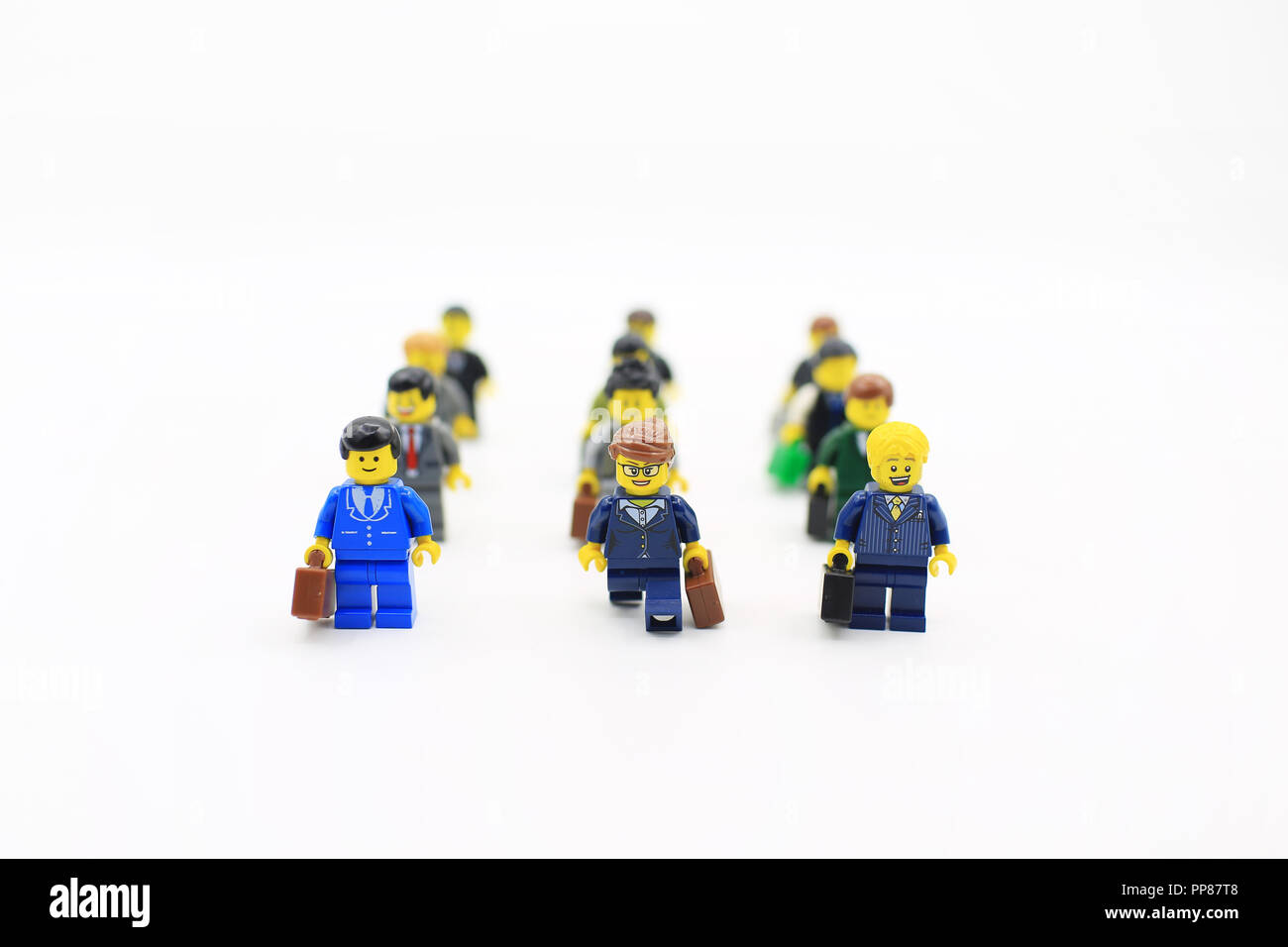 HONG KONG - OCTOBER 26, 2015 Lego mini figure  from different set. Studio shot in hong kong on 26 oct 2015. Legos,a popular line of plastic constructi Stock Photo