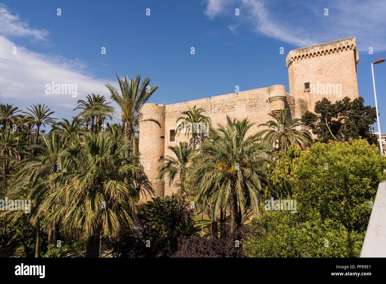 Palacio de Altamira y basílica de Santa Maria,  Palmeral de Elche, Patrimonio de la Humanidad por la Unesco, comunidad Valenciana, Spain. - Stock Image