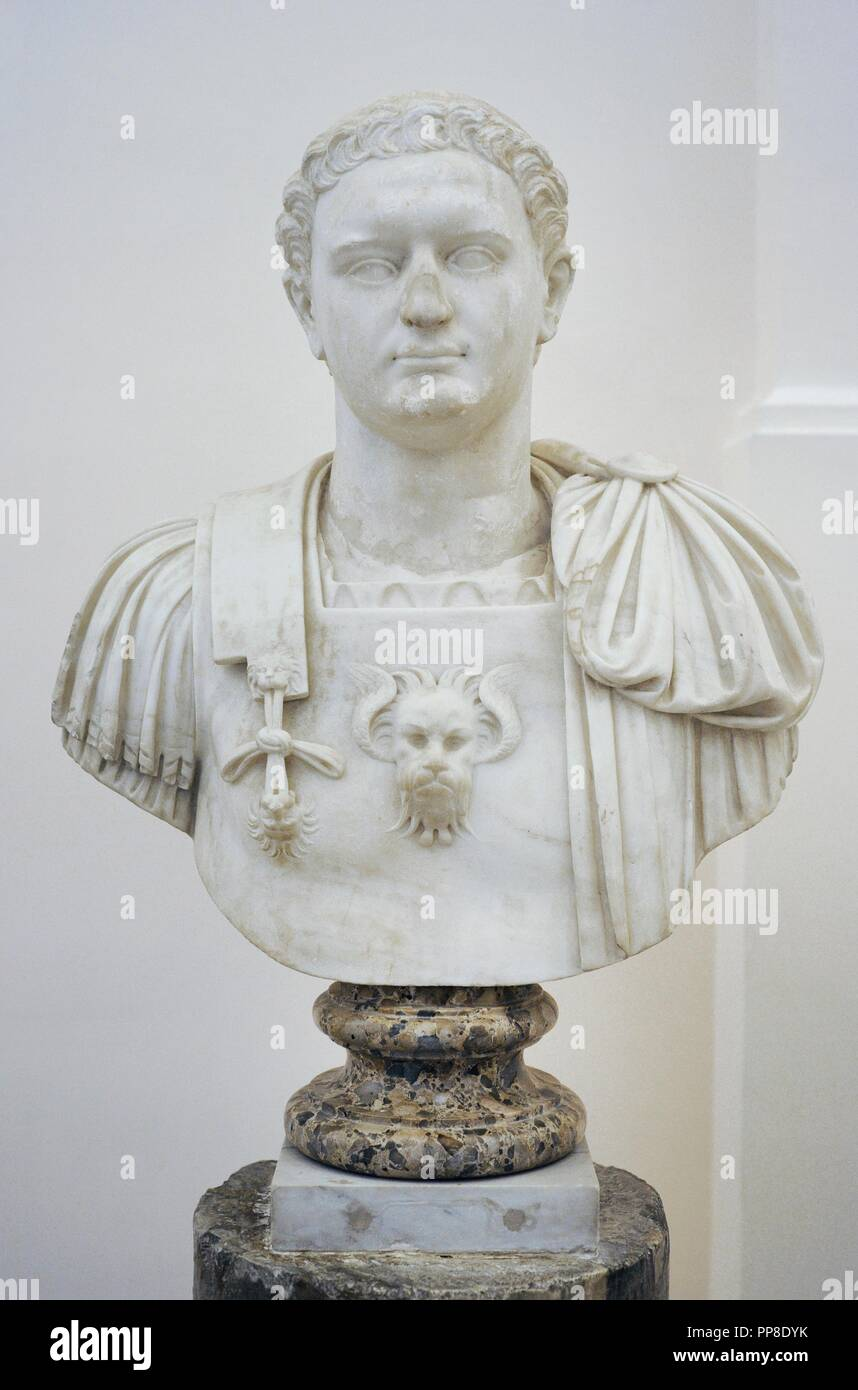 Emperor Domitian (51-96 AD). Flavian Dynasty. Modern bust by the Italian sculptor Guglielmo della Porta (c.1500-1577). National Archaeological Museum. Naples, Italy. Stock Photo