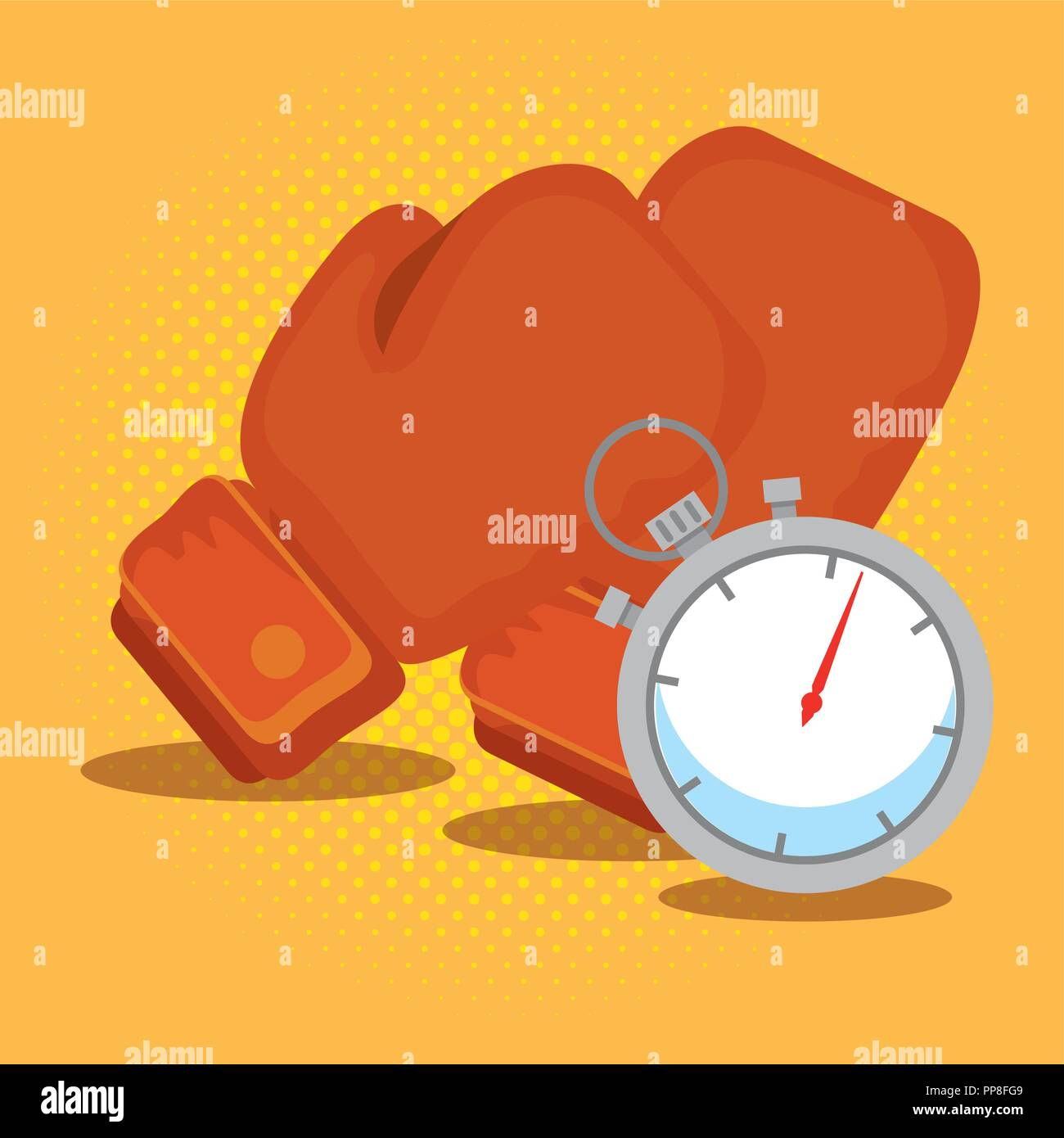 boxing gloves and chronometer - Stock Vector