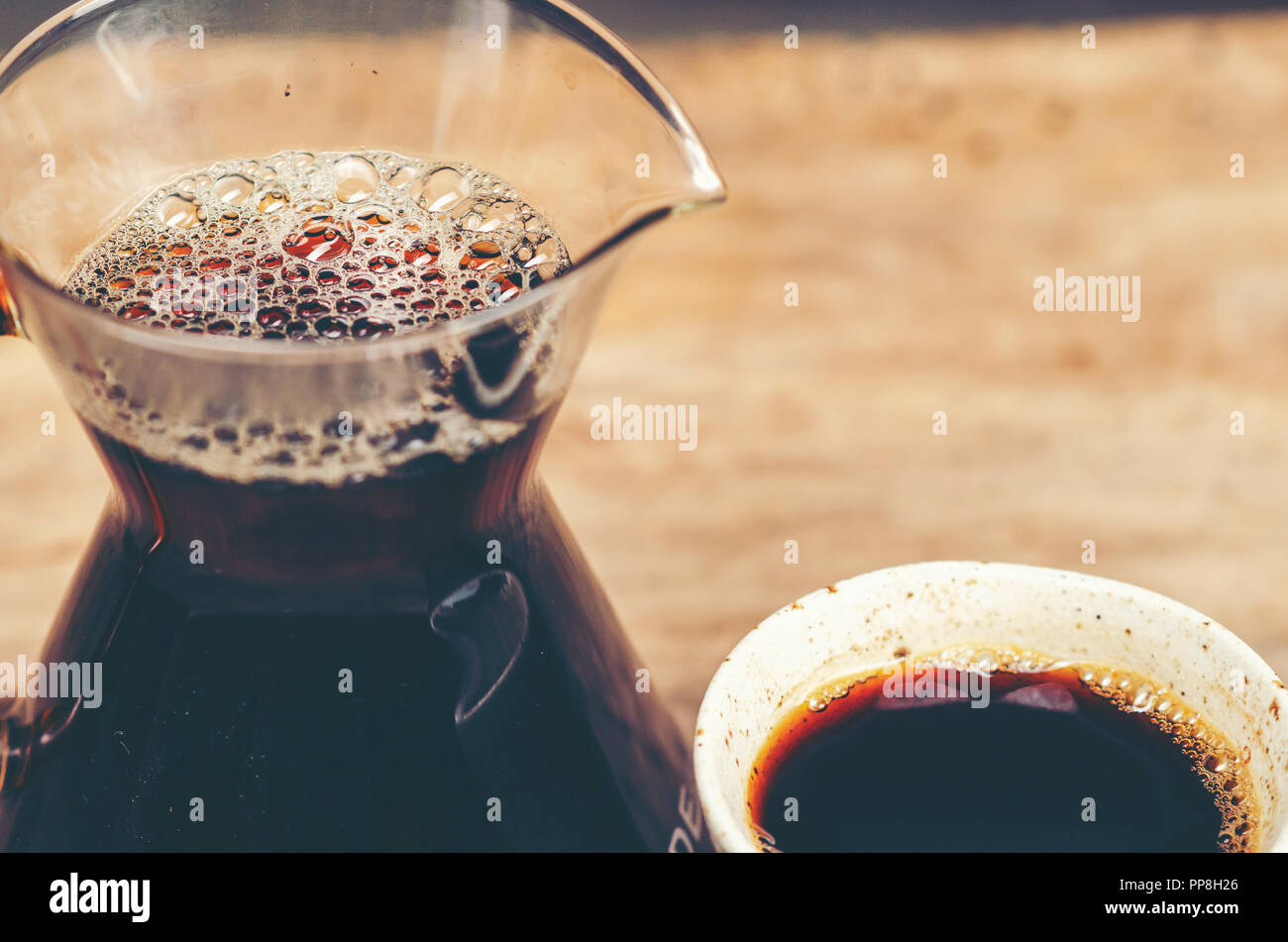black coffee, Americano, vintage filter image Stock Photo