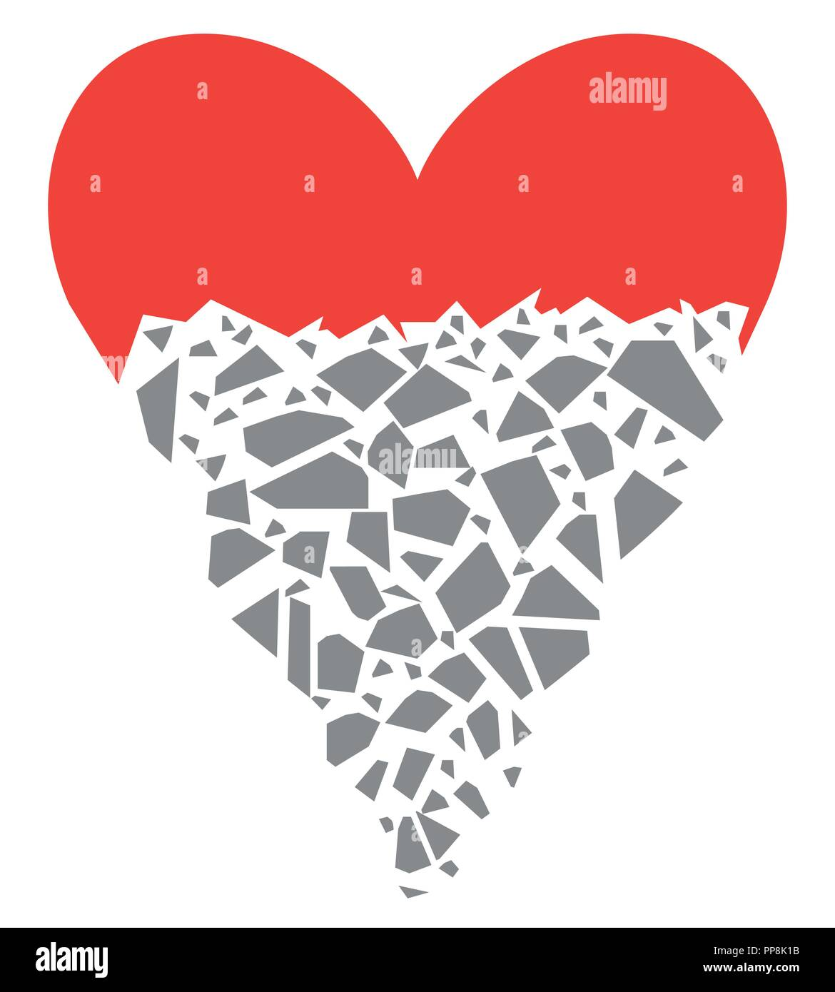 The red heart is destroyed by gray shards. Conceptual background with a contrite heart. Flat style. Vector illustration. - Stock Image