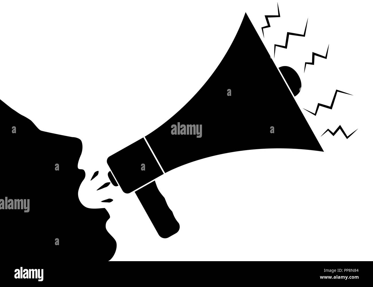 the outline of the face of man shouting through a loudspeaker vector illustration stock vector image art alamy https www alamy com the outline of the face of man shouting through a loudspeaker vector illustration image220239156 html