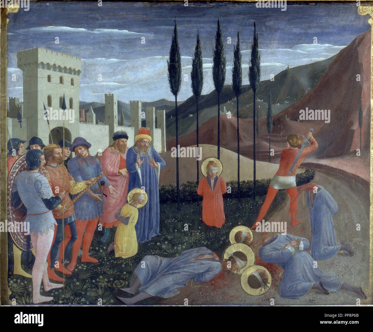 Martyrdom of Saint Cosmas and Saint Damian - 1438-1440- 37,3x46,1- Saint Marco Alterpiece. Author: FRA ANGELICO. Location: LOUVRE MUSEUM-PAINTINGS. France. - Stock Image