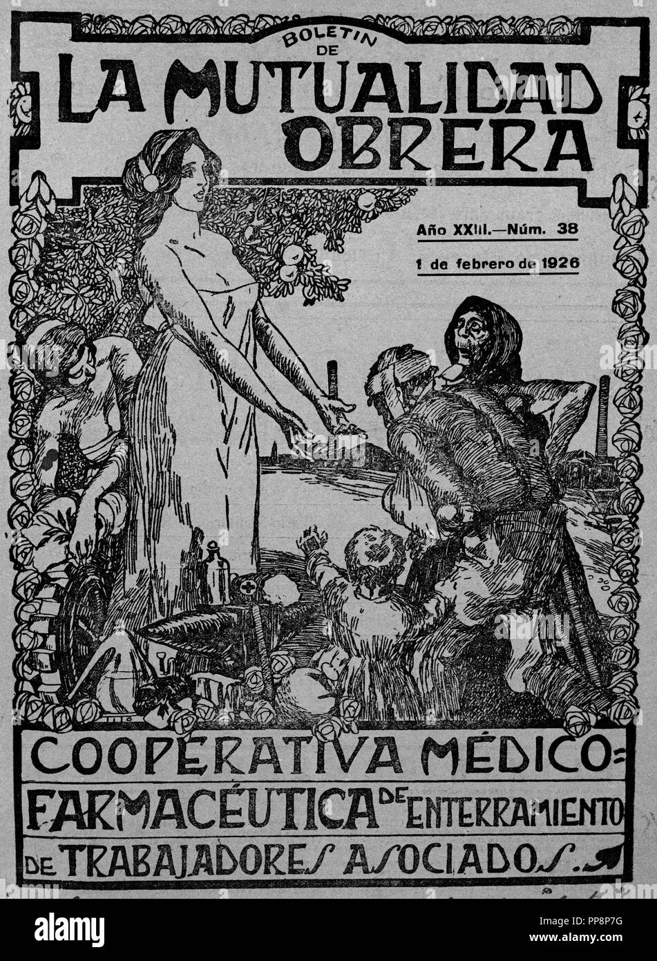 PHARMACEUTICAL MEDICAL COOPERATIVE OF BURIAL OF ASSOCIATED WORKERS, FEBRUARY 1st, 1926. Location: FUNDACION PABLO IGLESIAS. MADRID. SPAIN. - Stock Image