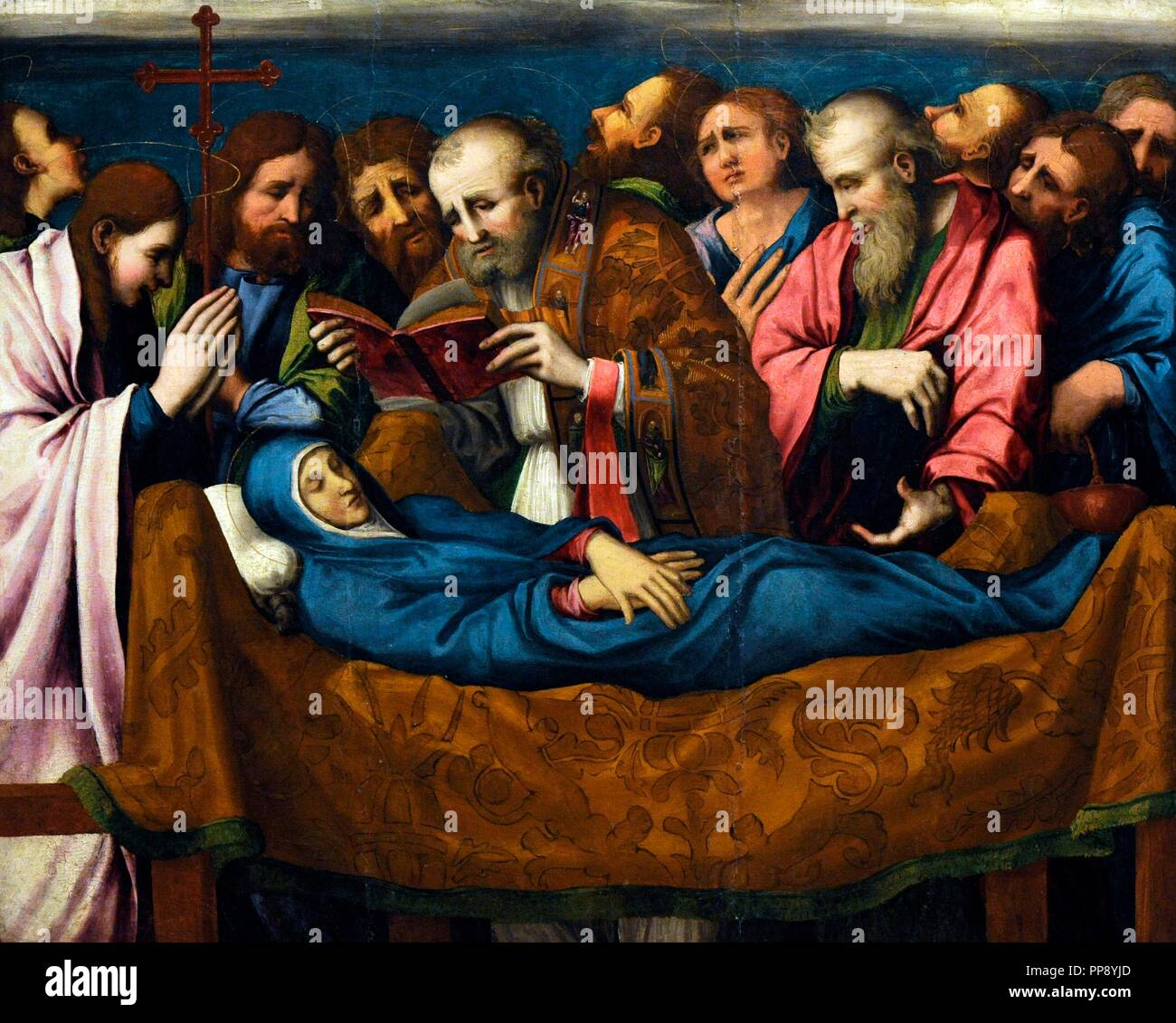 Marco Cardisco (1486-1542). Italian painer. Dormition of the Mother of God. Oil on the table. 1535-40. Museum of Capodimonte. Naples. Italy. Stock Photo