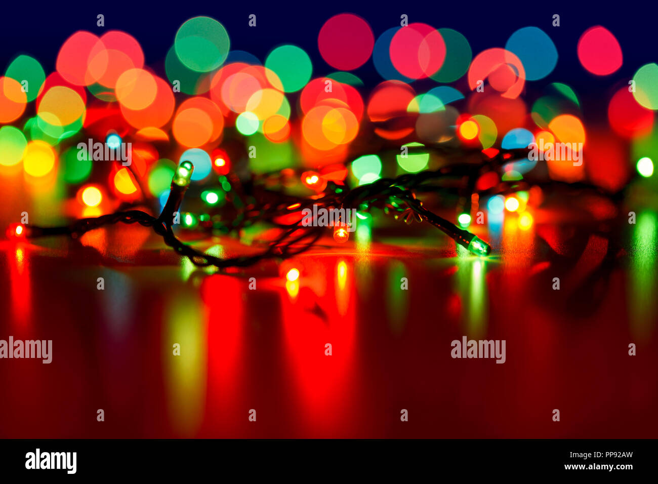 Christmas lights with blurred background Stock Photo