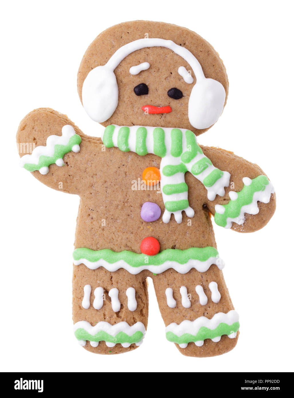 iced christmas gingerbread man sugar cookie isolated on white background