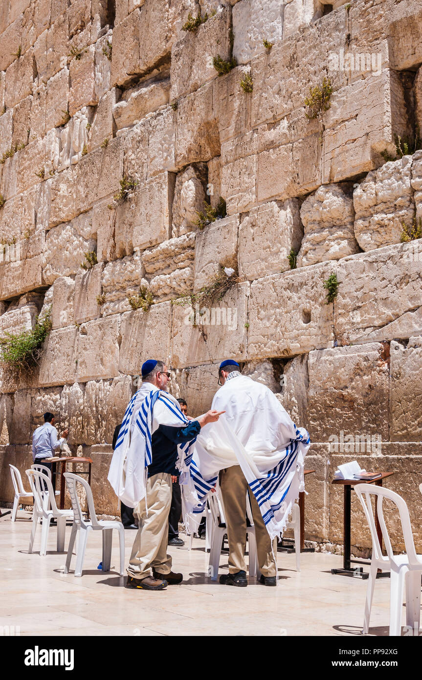 Jerusalem, Israel - April 29, 2014: Traditional Jewish Bar Mitzvah ritual near the stones of the Western Wall. - Stock Image