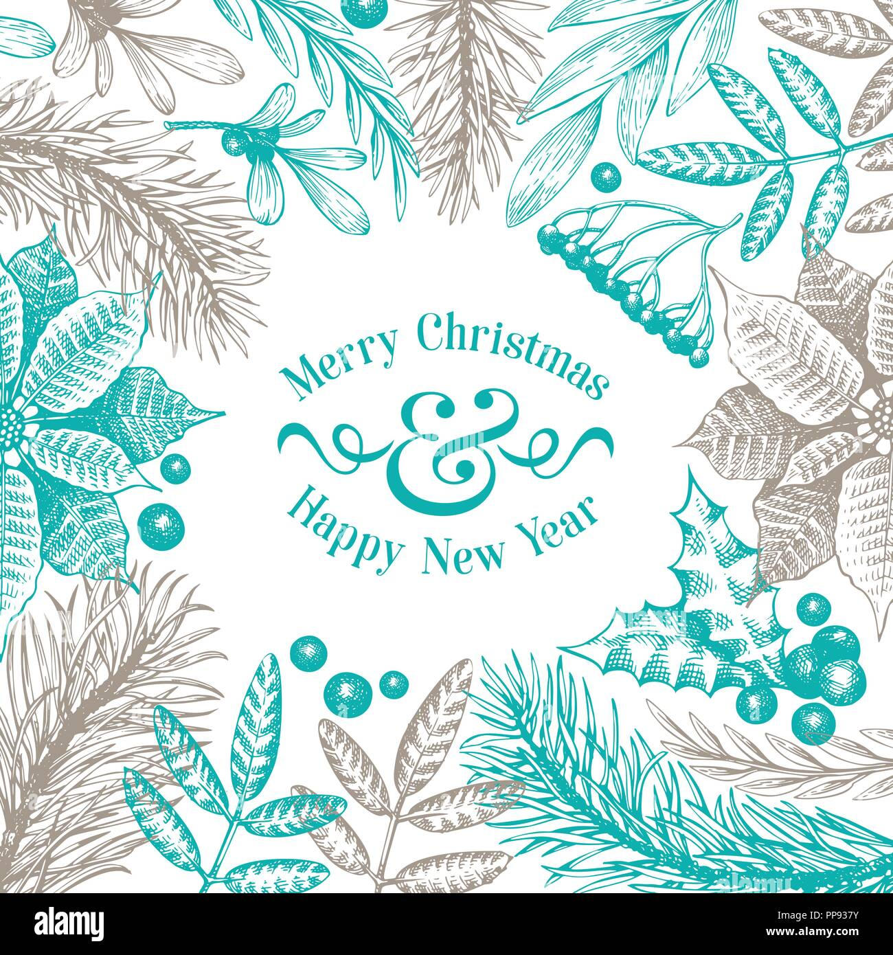 Greeting Christmas card in vintage style. Vector hand drawn illustrations. Frame with coniferous, pine branches, berries, holly, mistletoe. Winter forest background. Merry Christmas template. - Stock Vector