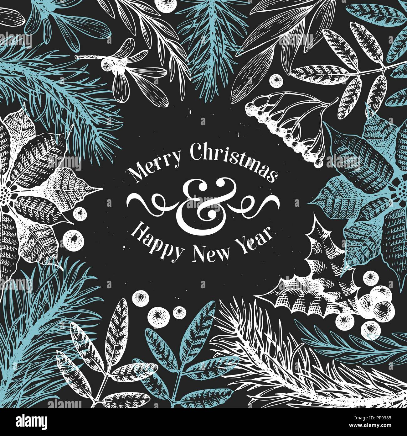 Greeting Christmas card in vintage style. Vector hand drawn illustrations on chalk board. Frame with coniferous, pine branches, berries, holly, mistletoe. Merry Christmas template. - Stock Vector