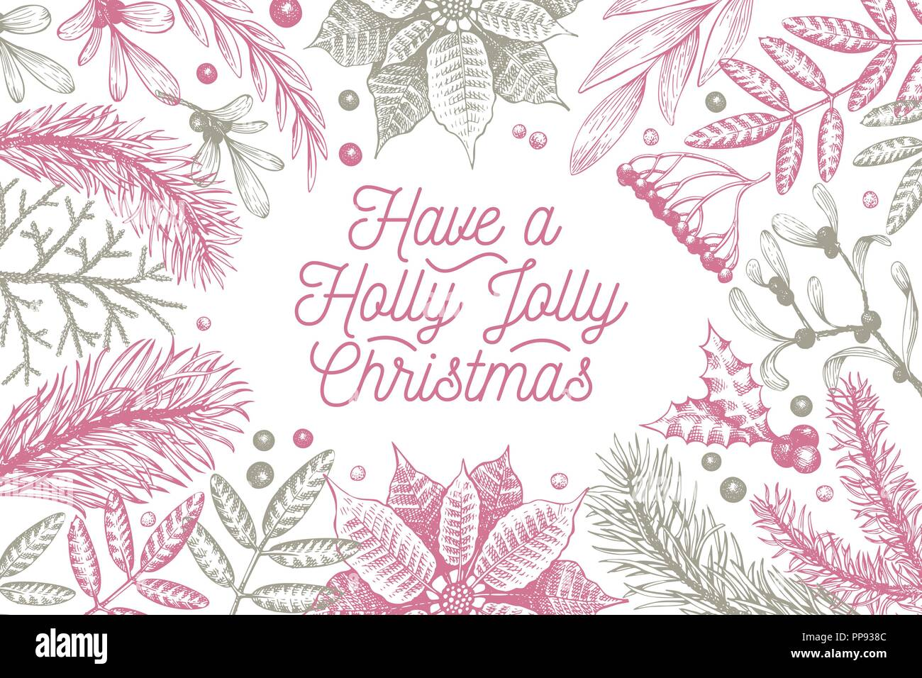 Merry Christmas design template. Vector hand drawn illustrations. Greeting Christmas card in retro style. Frame with coniferous, pine branches, berries, holly, mistletoe. Winter forest background. - Stock Vector