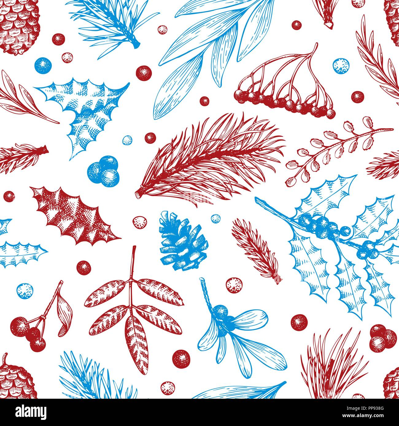 Vector Christmas seamless pattern. Hand drawn winter illustrations. Banner with coniferous, pine branches, berries, holly, mistletoe in retro style. Merry Christmas background. - Stock Vector