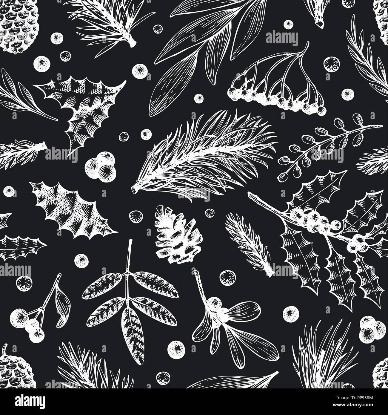 Vector Christmas seamless pattern. Hand drawn winter illustrations on chalk board. Banner with coniferous, pine branches, berries, holly, mistletoe in retro style. Merry Christmas background. - Stock Vector