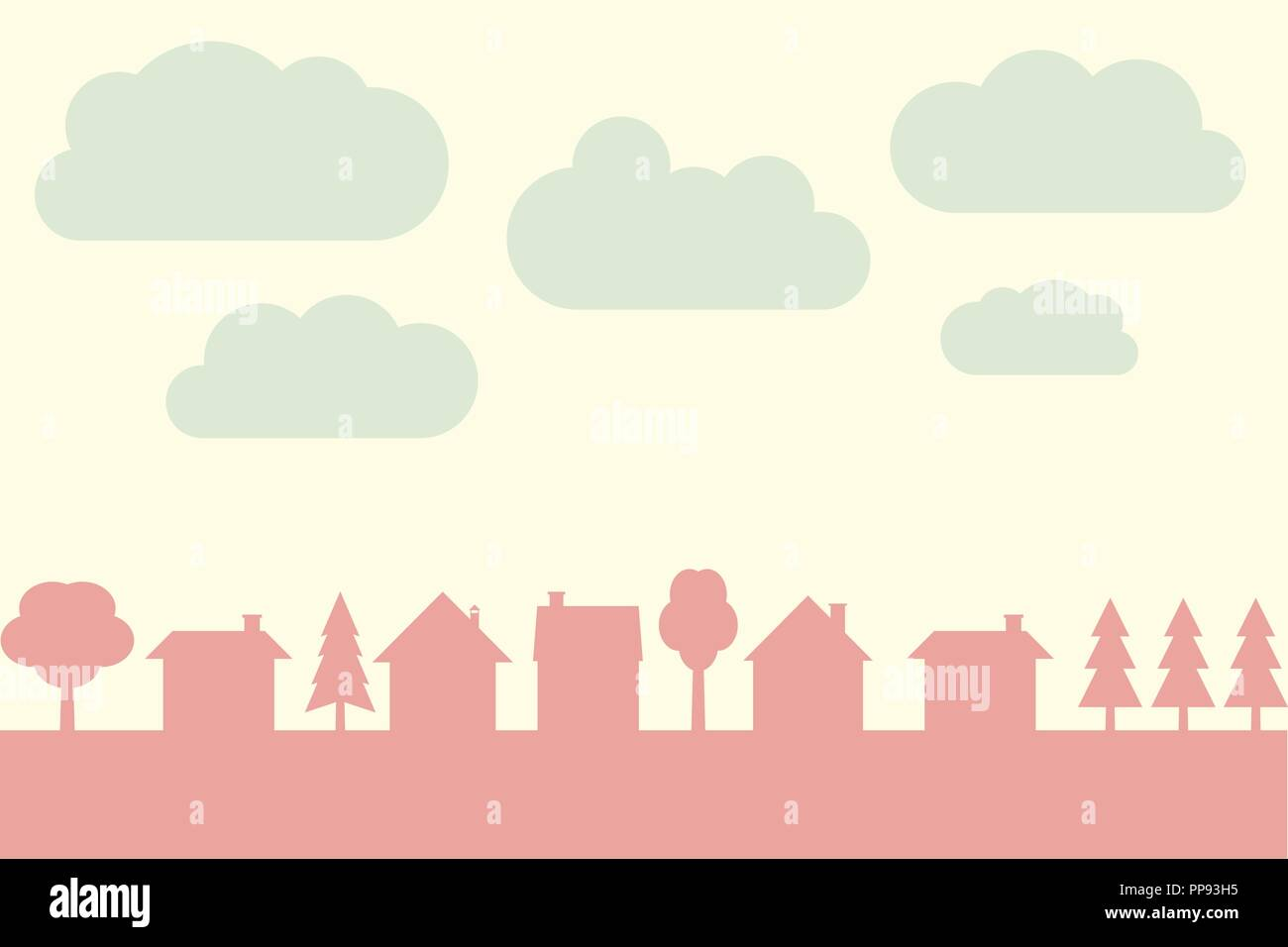 small town vector contour with blank copy space village