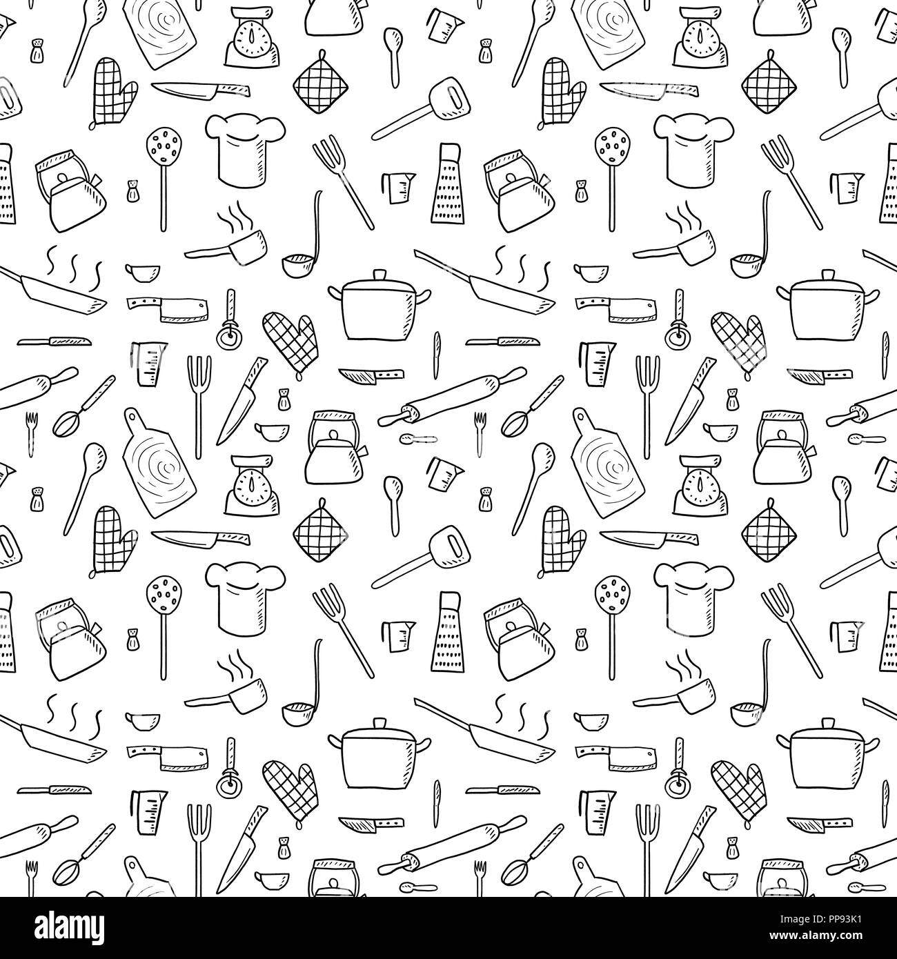 Cooking utensils and kitchen tools seamless background doodle vector