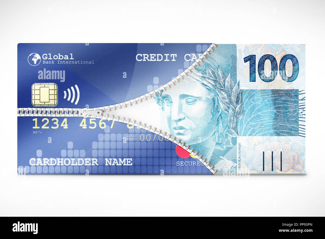 A Credit Card zipping open to release a fiat money bill symbolizing business concepts. - Stock Image
