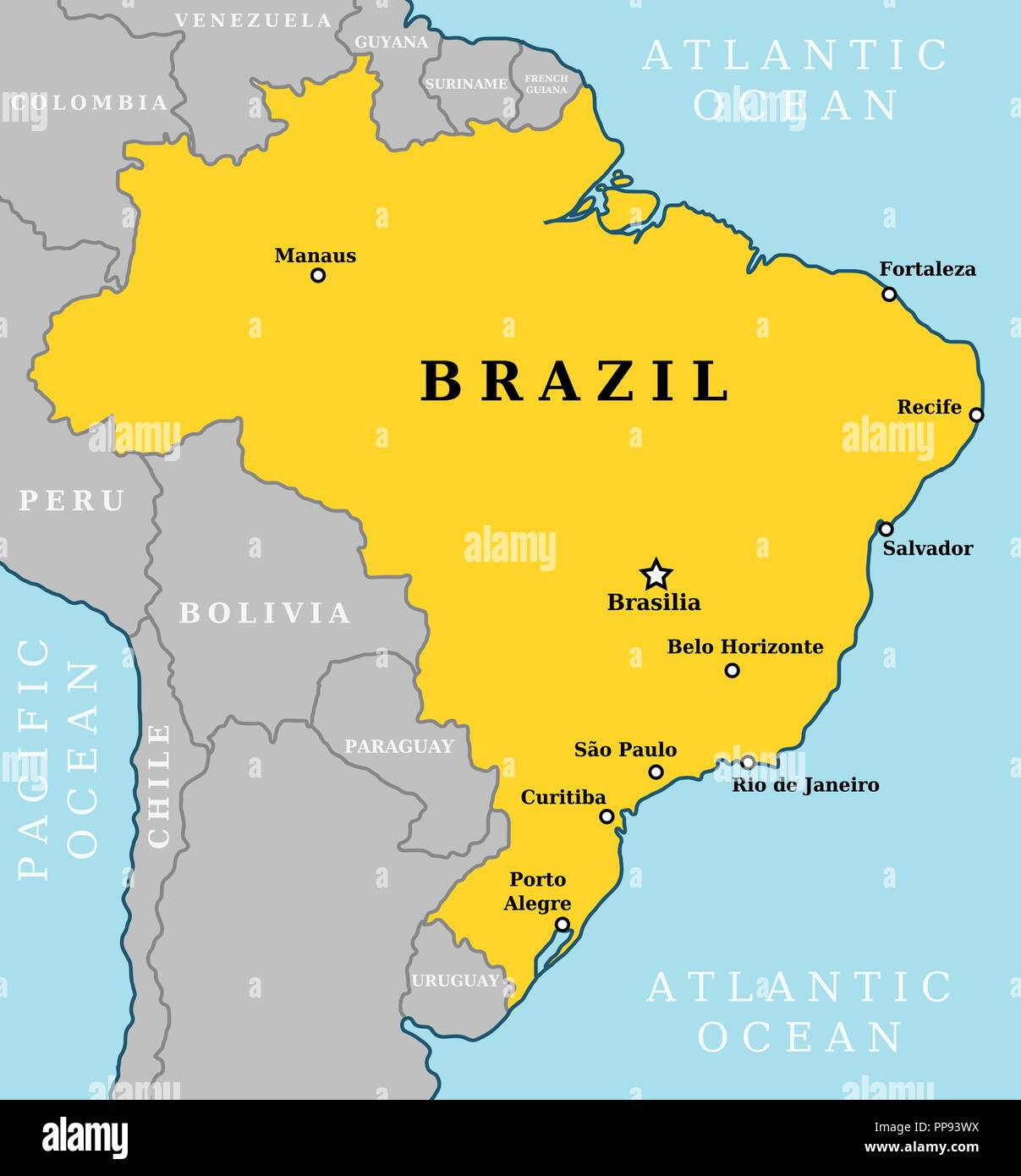 the map of brazil Map Of Brazil Country Outline With 10 Largest Cities Including the map of brazil