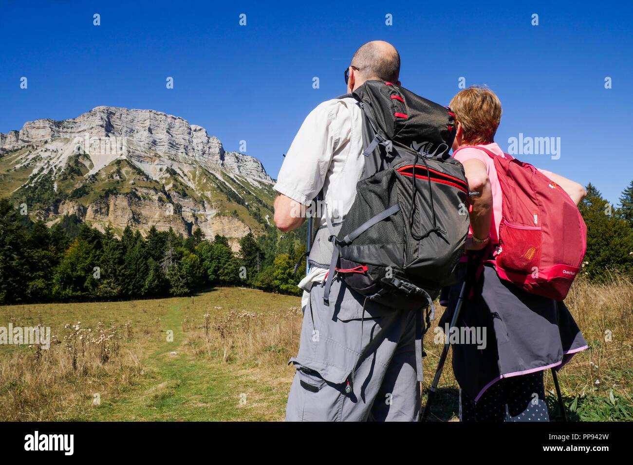 Mountain hiking, Chartreuse range, Isere, France - Stock Image
