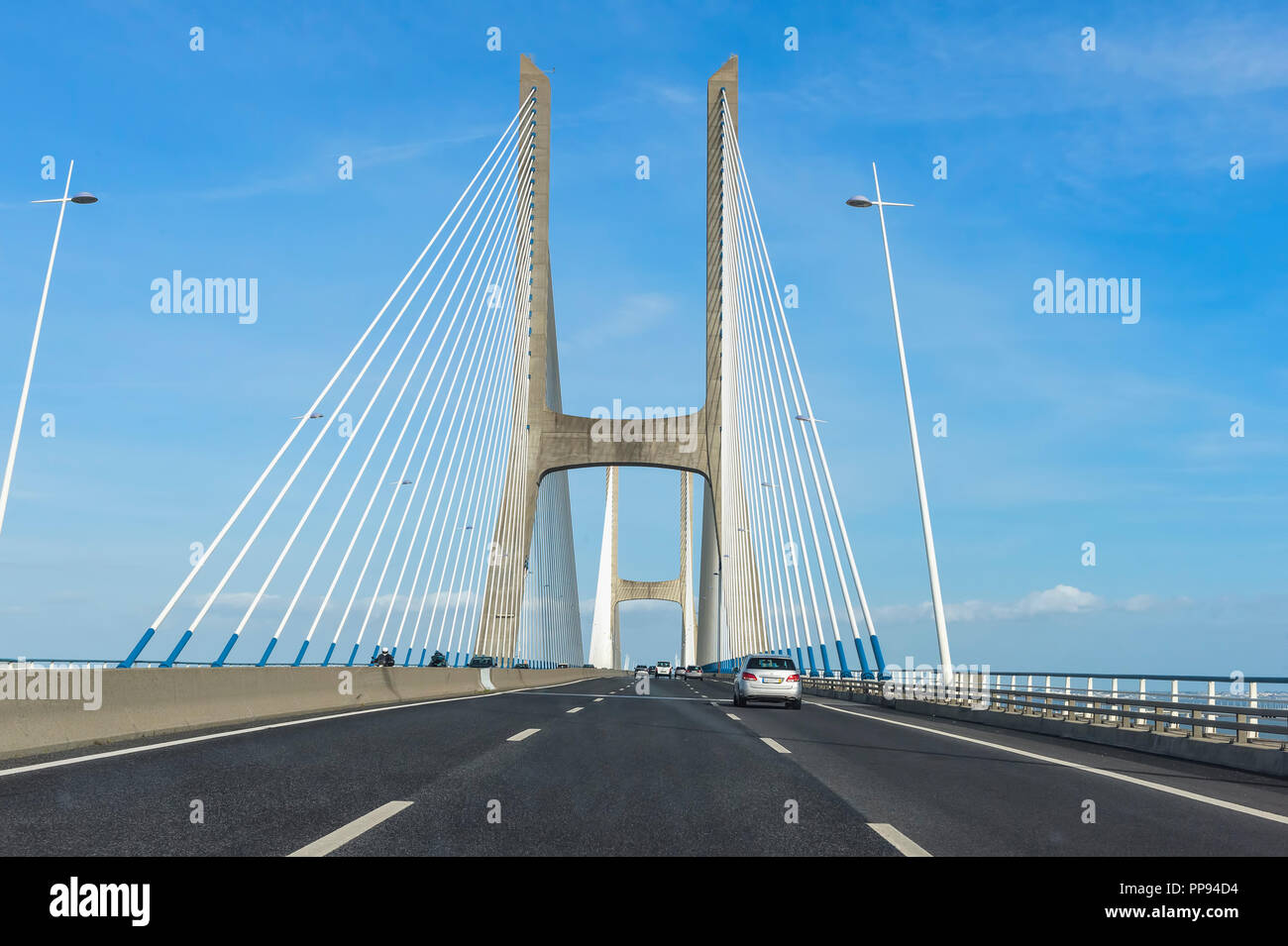 Ponte Vasco de Gama bridge, longest bridge in Europe, Lisbon, Portugal - Stock Image