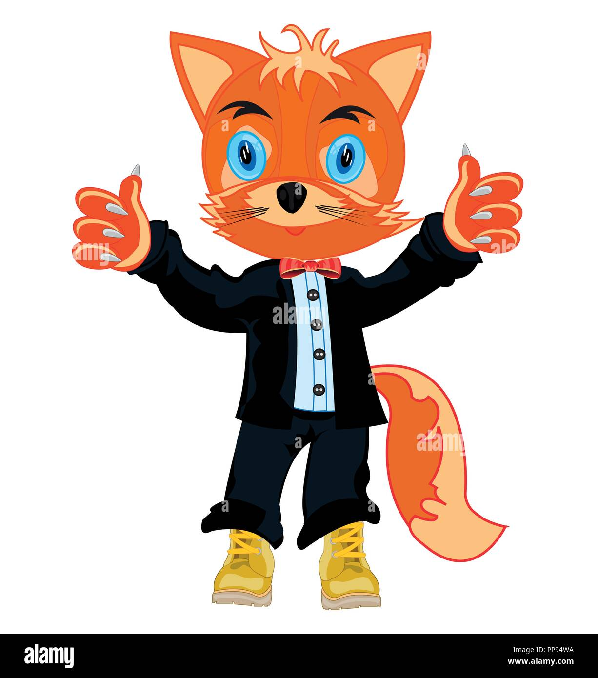 Cartoon animal fox in fashionable suit and shoe - Stock Image