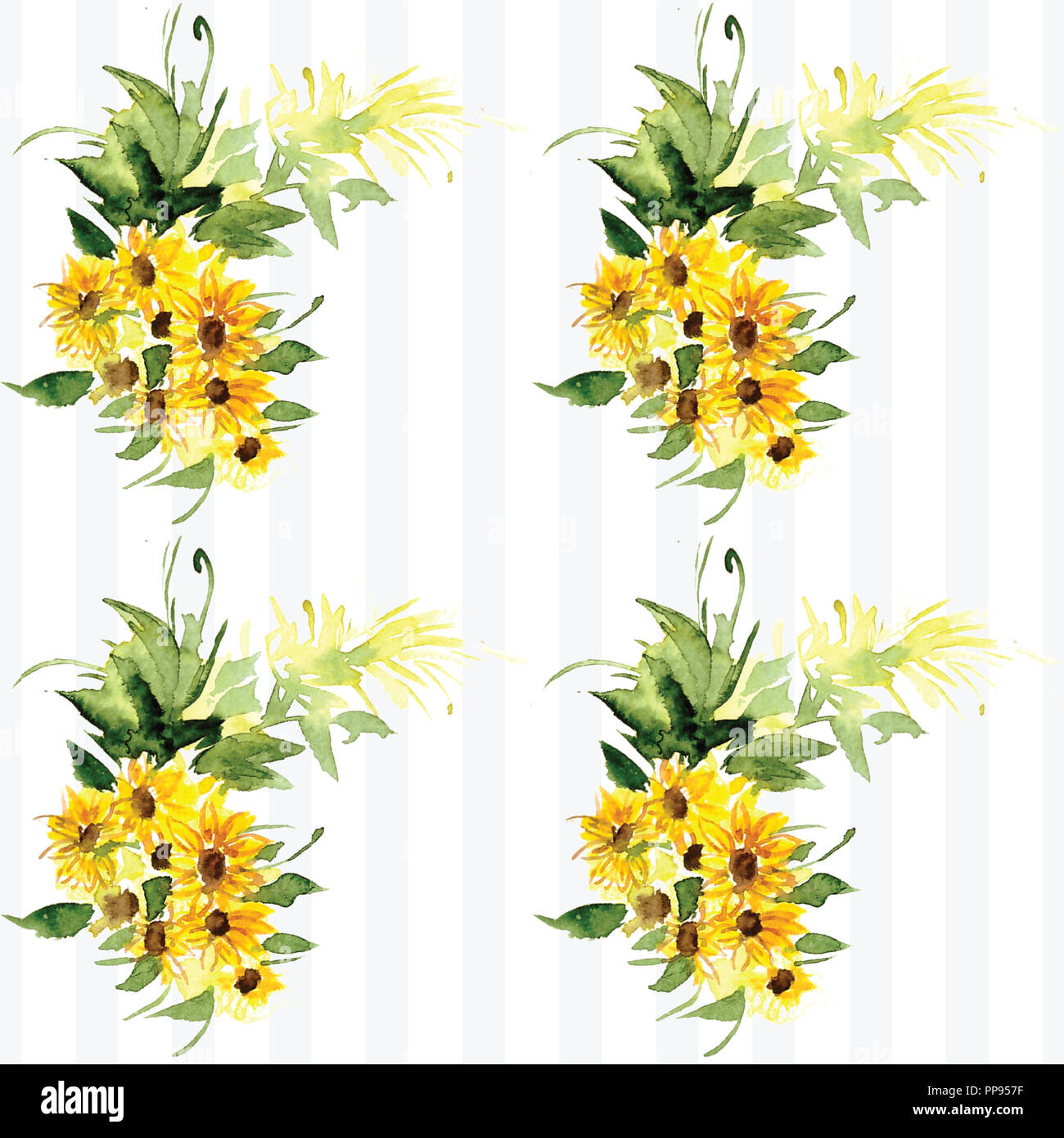 The Pattern Of Blooming Yellow Flowers Sunflower Painted In Watercolor Illustration Of Decorative Floral Design For Wedding Invitations And Greeting Stock Photo Alamy