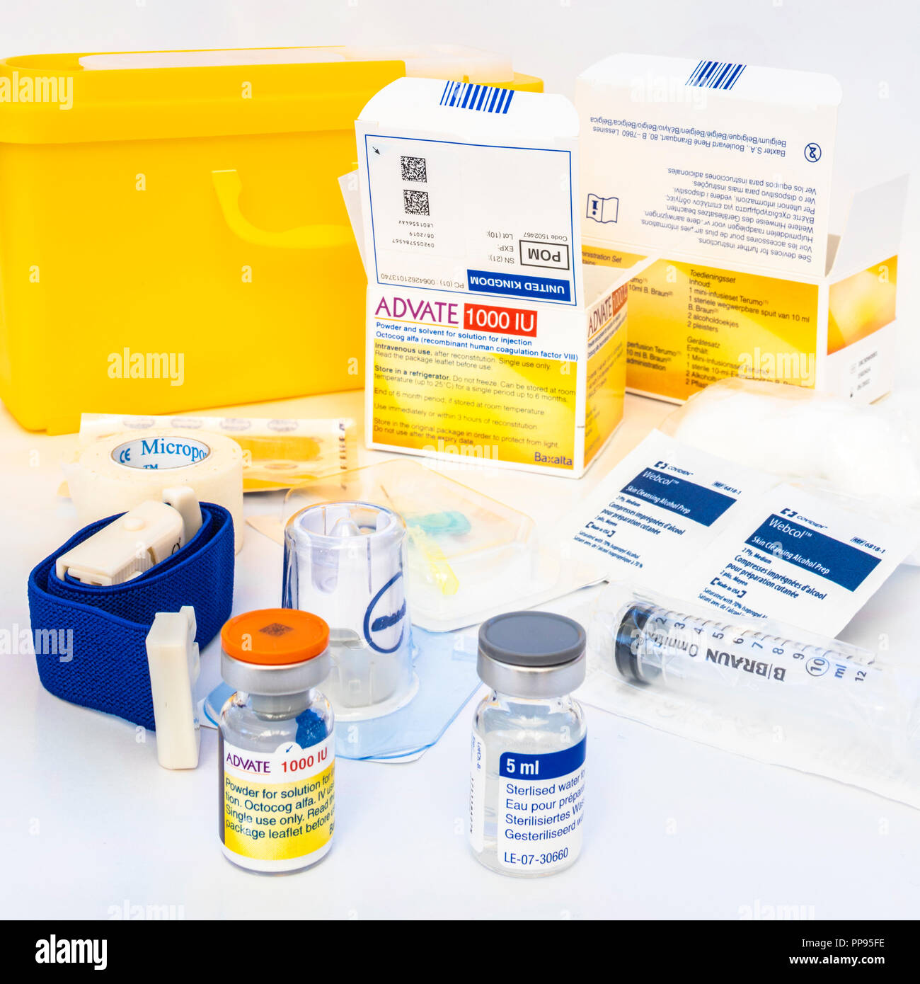 One of the latest Factor VIII products for the treatment of Haemophilia A. These modern products are made in the laboratory and are free from viruses. - Stock Image