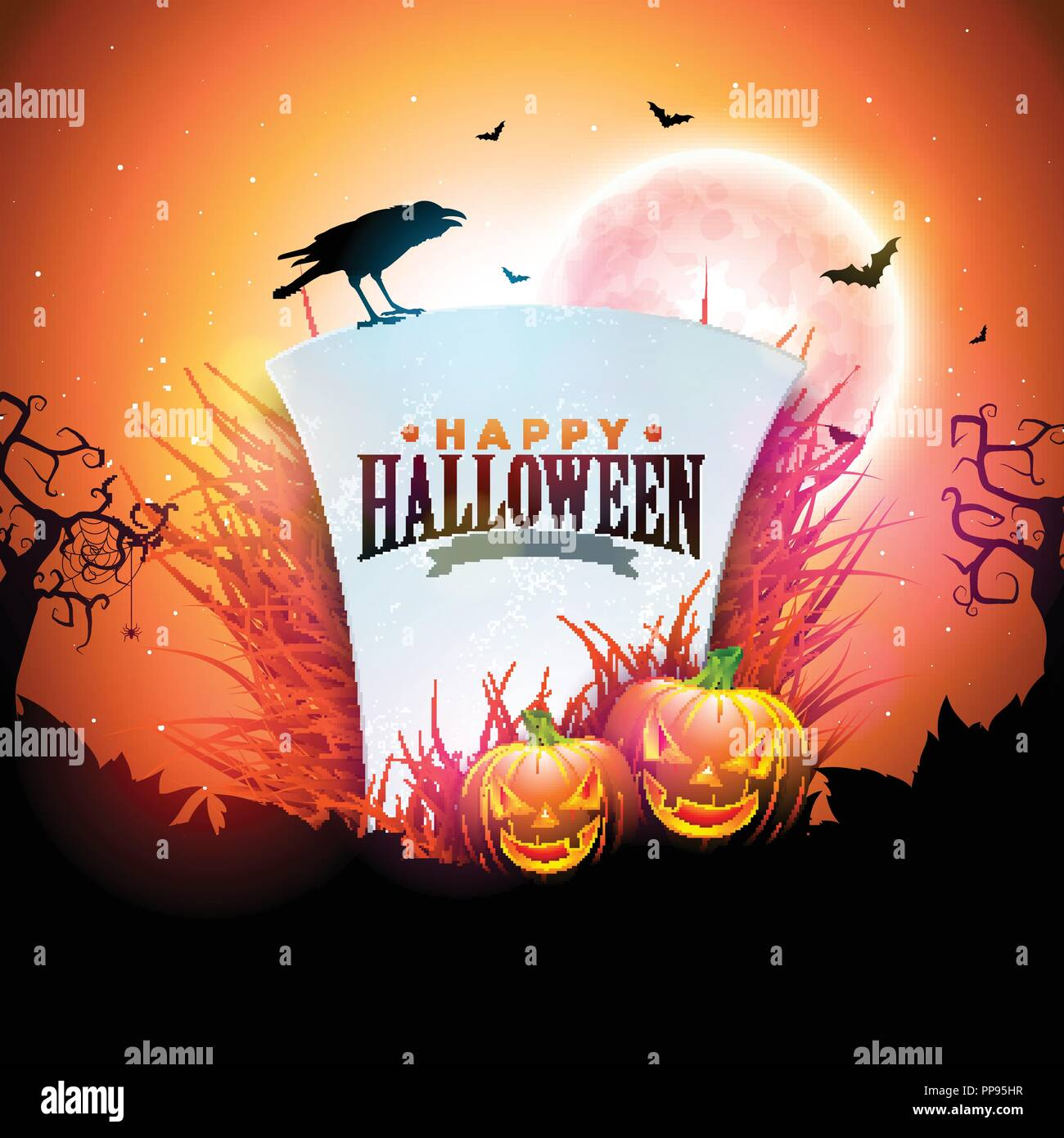 Happy Halloween Banner Illustration With Moon Flying Bats Pumpkins And Tombstone On Orange Night Sky Background Vector Holiday Design Template