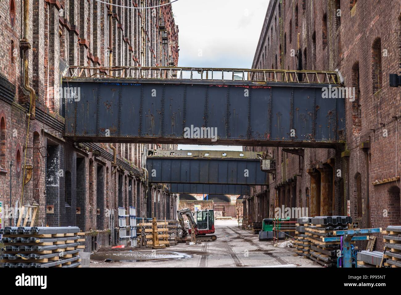 Renovation work on the Stanley Dock Tobacco Warehouse (1901) Regent Road, Liverpool, Merseyside, England, UK April 2018. Stock Photo