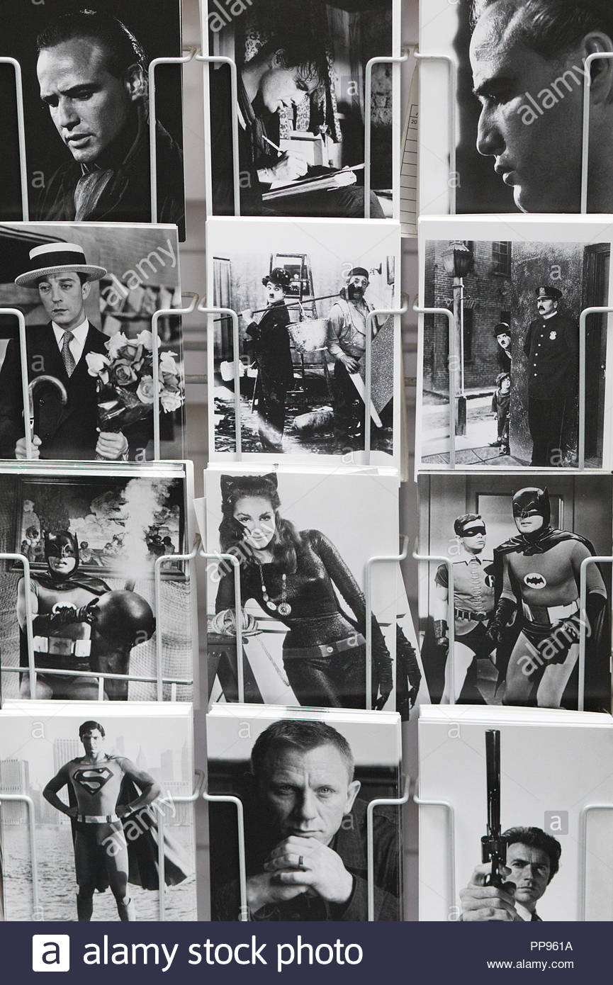 Postcards of famous people and movies - Stock Image